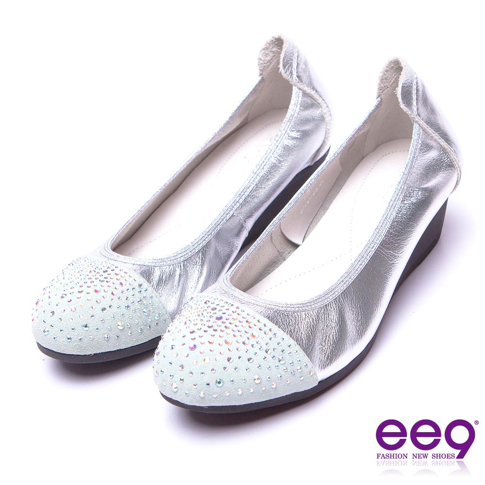 【ee9】甜美名媛~璀璨光芒晶鑽舒適輕量微坡跟包鞋*銀色
