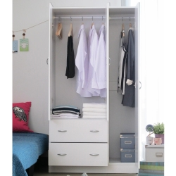 EASY HOME 三門雙抽屜收納衣櫥-白色