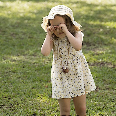 PIPPY 自然風格印花洋裝 米黃