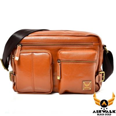 AIRWALK-黑金系列-型男爵士雙口袋肩斜側背包