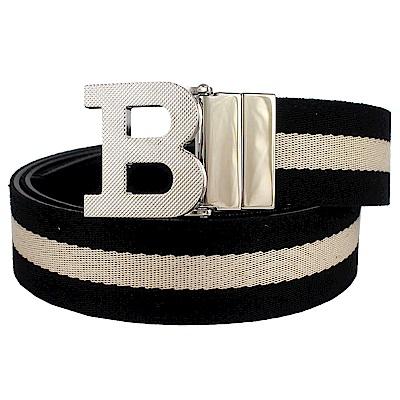 BALLY B字樣金屬釦頭黑色經典條紋帆布雙面真皮皮帶