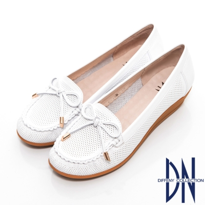 DN 通勤首選 減壓全真皮蝴蝶結楔型包鞋 白