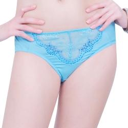 思薇爾 蝶舞戀系列M-XXL蕾絲中腰三角褲(藍霧色)