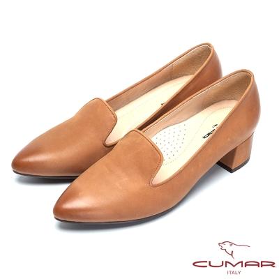 CUMAR簡約時尚-經典素雅牛皮樂福鞋-棕