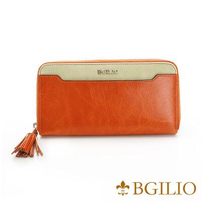 義大利BGilio-義大利蜡感牛皮雙色拉鍊長夾-橙色-2248.323-11