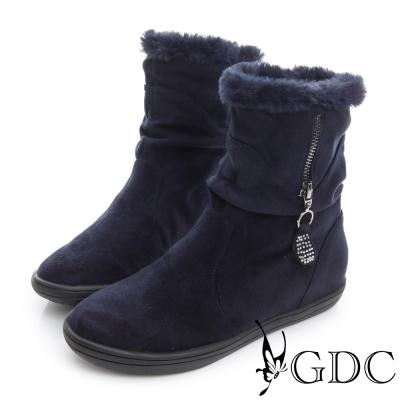 GDC溫暖-兩穿真皮絨面拉鍊中筒靴-藍色