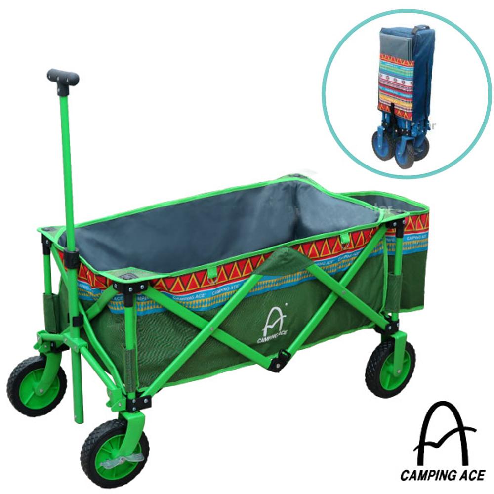 【Camping Ace】露營者 耐重加大鋼管摺疊式寵物裝備拖車_炫彩綠