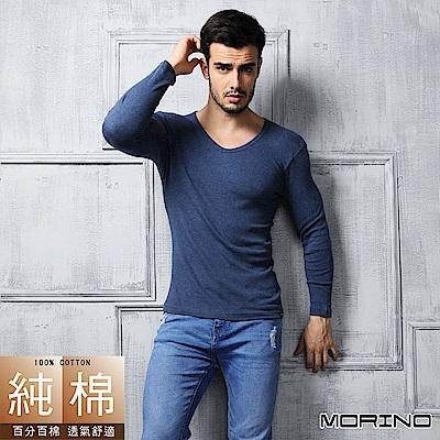 男內衣 純棉 長袖V領內衣  深藍 MORINO