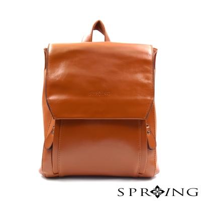 SPRING - 簡約牛皮方形後背包-棕