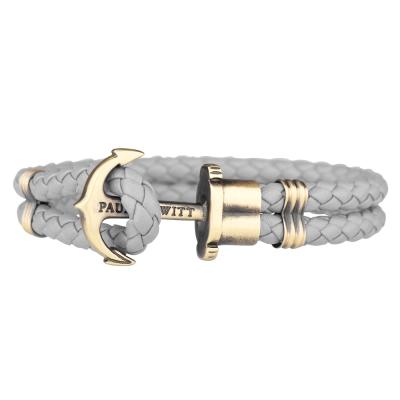 PAUL HEWITT 德國出品 PHREP 灰色皮革編織 仿舊古銅船錨 單圈手環