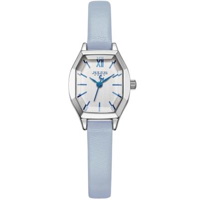 JULIUS聚利時 橡樹風情立體切割鏡面皮帶錶-白x天空藍/20.5X18mm