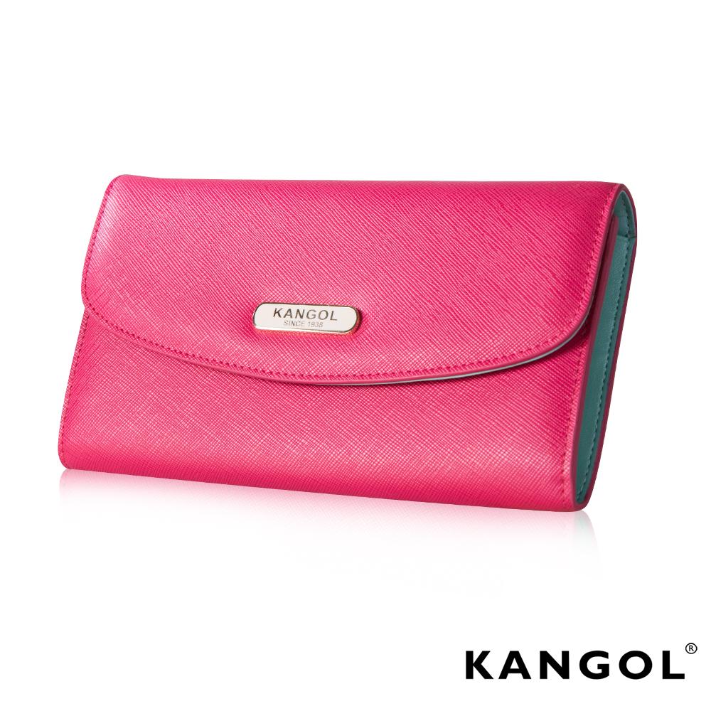 KANGOL 英國袋鼠 優雅經典風華 扣式長夾 十字紋頭層皮設計-桃粉