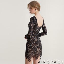 AIR SPACE 雕花蕾絲合身約會洋裝(黑)