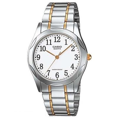CASIO 時尚輝煌指針紳士錶(MTP-1275SG-7B)-白數字面x金邊/35mm
