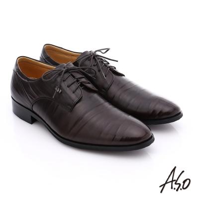 A.S.O 超輕雙核心 雙色拼接真皮綁帶奈米紳士鞋 深咖啡色
