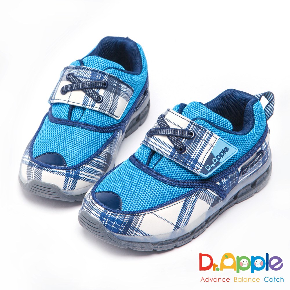 Dr. Apple 機能童鞋 經典格紋發光運動鞋-藍