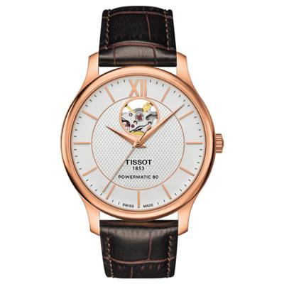 TISSOT Tradition 天梭80小時動力開芯鏤空機械錶-銀x玫瑰金框/40mm