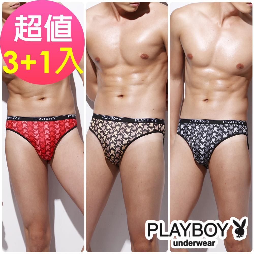 【Playboy】普普風絲光三角褲- 超值3+1件組