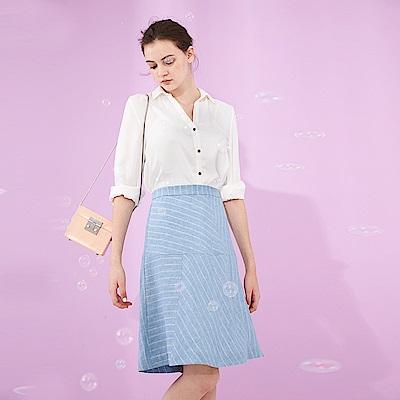 Chaber巧帛 氣質微甜線條印花剪接傘擺及膝簡約造型中長裙 -藍
