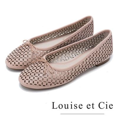 Louise et Cie 甜美可人 舒適蝴蝶結簍空平底鞋-粉色