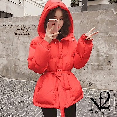 外套 正韓紅色繫帶顯瘦連帽羽絨外套 N 2