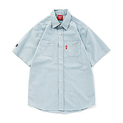 CACO-背後繡字短襯衫(兩色)-男【OST067】
