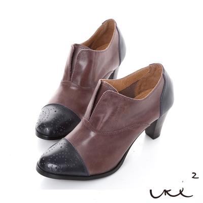 iki2英倫魅力-復古經典拼接雕花高跟鞋-棗紅