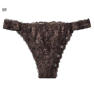 aimerfeel 性感緞帶蕾絲丁字褲-褐色