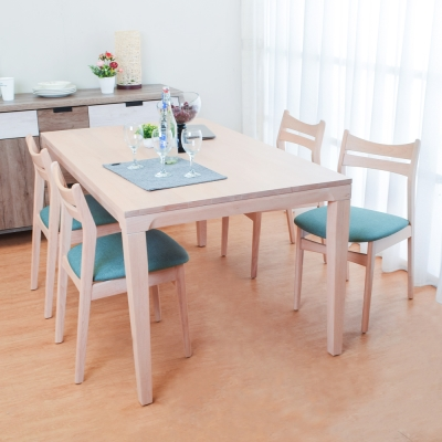 Bernice-納凱登5尺實木餐桌椅組(一桌四椅)-150x91x76cm