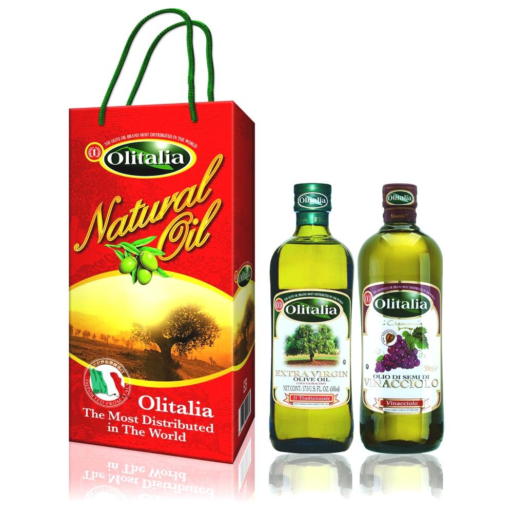 Olitalia奧利塔禮盒組 冷壓橄欖油(500ml)+葡萄籽油(500ml)