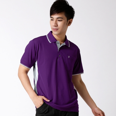 【遊遍天下】MIT台灣製男款抗UV涼爽吸濕排汗POLO衫S 075 紫