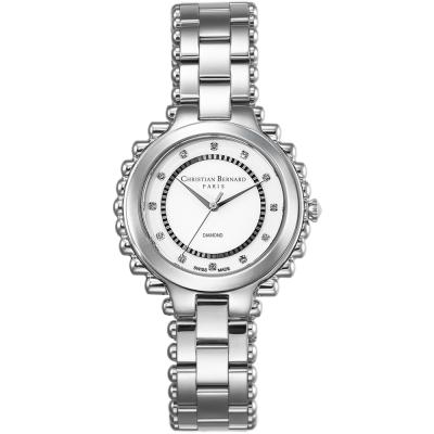 Christian Bernard 伯納錶 渡假天堂棕櫚樹鑽錶 -銀/38mm
