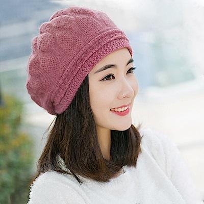 幸福揚邑 棱紋小顏毛線帽雙層保暖護耳防風兔毛針織貝蕾帽-粉紫