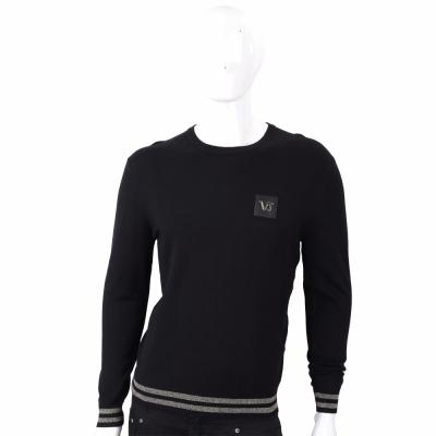 VERSACE 皮革標設計黑色圓領針織衫