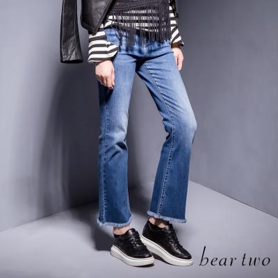 beartwo-自然刷白下擺抽鬚牛仔褲-藍色