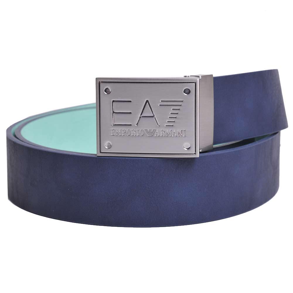 EMPORIO ARMANI 經典品牌圖騰LOGO壓印雙色牛皮腰帶(深藍/粉藍綠)