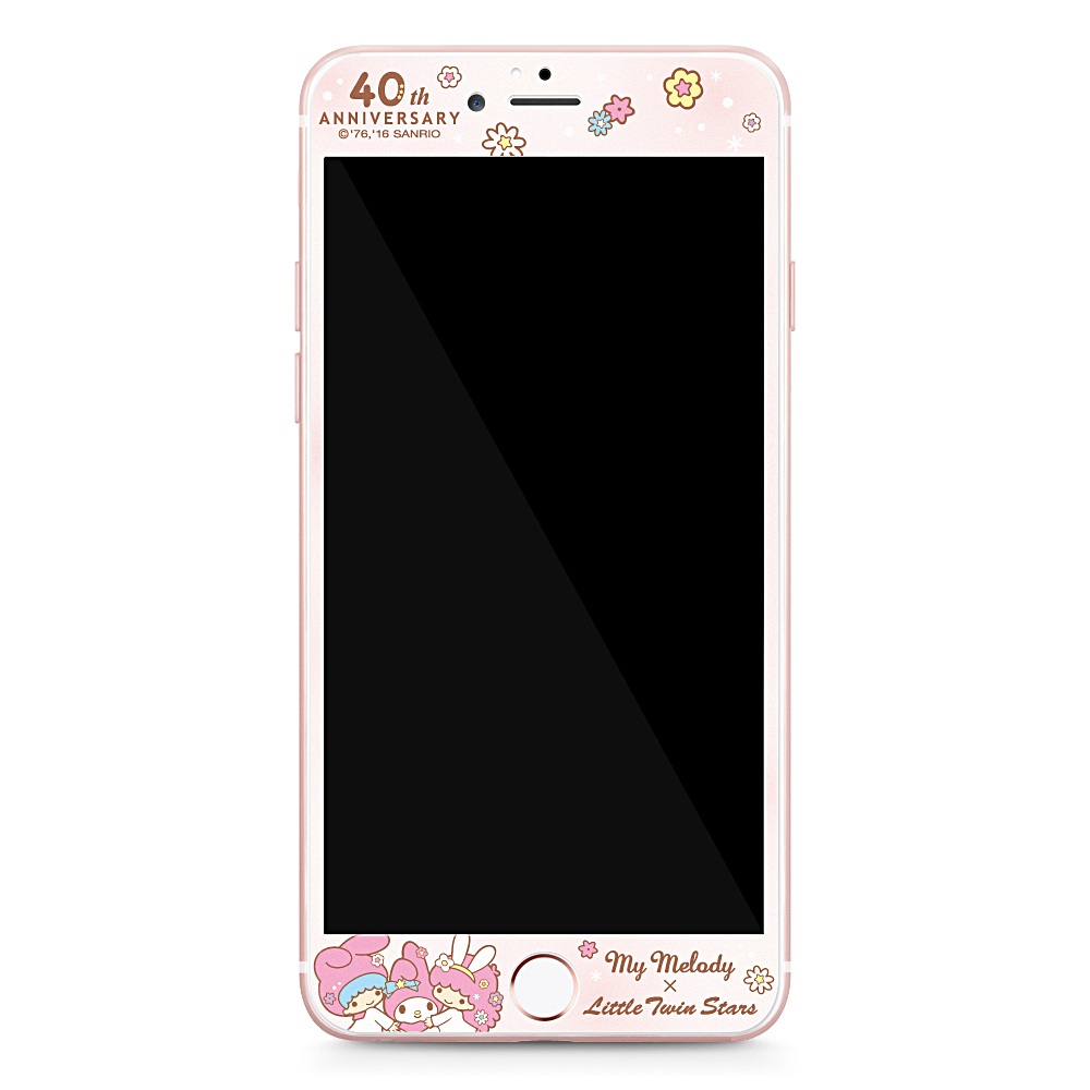 GARMMA 美樂蒂x雙子星 iPhone 6/6S 4.7吋鋼化玻璃膜-花花世界