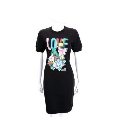LOVE MOSCHINO 黑色多彩花朵女孩圖騰棉質短袖洋裝