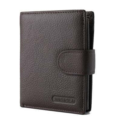 JINBAOLAI   GT1714BR真皮帶扣短皮夾零錢包咖啡色