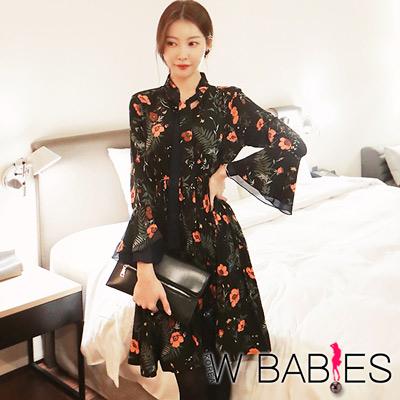 正韓-領結綁帶喇叭袖花朵洋裝-黑色-W-BABIES