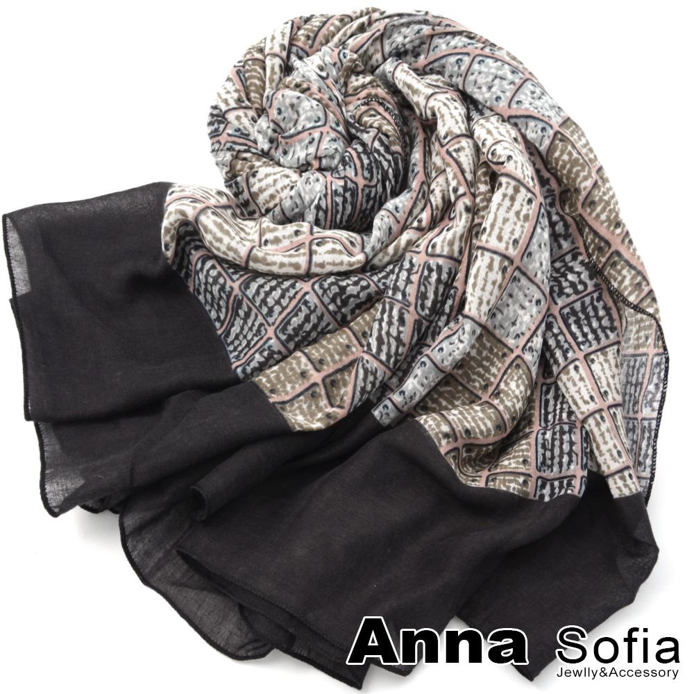 【2件450】AnnaSofia 方格樊藤 拷克邊韓國棉圍巾披肩(灰黑邊)