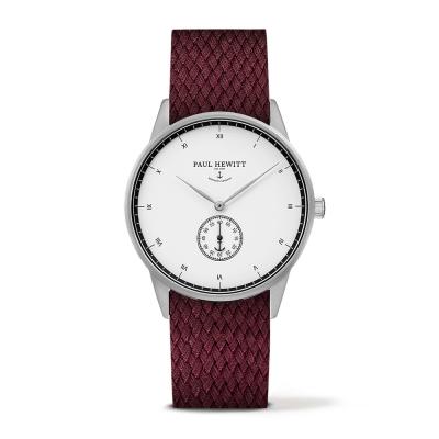 PAUL HEWITT Signature 小秒針手錶-白x酒紅色錶帶/38mm