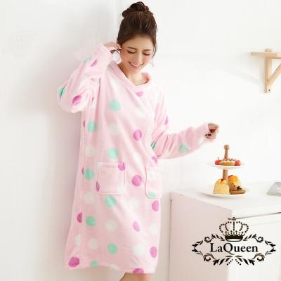 睡衣   繽紛點點雙面水貂絨睡裙-圓點粉 La Queen