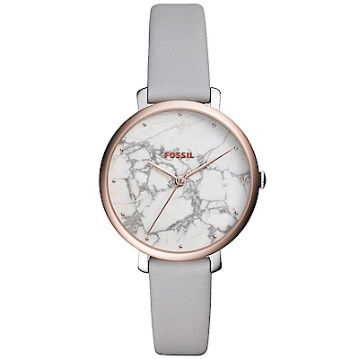 FOSSIL Jacqueline優雅時尚真皮手錶(ES4377)-大理石X灰/36mm