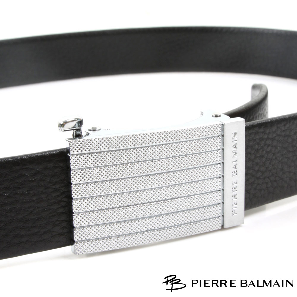 PB 皮爾帕門-經典方切橫菱點設計款-頭層牛皮自動扣皮帶-855