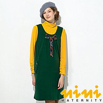 《nini專櫃孕婦裝》學院氣質蝴蝶結領造型秋冬孕婦背心洋裝-綠(F2W04)