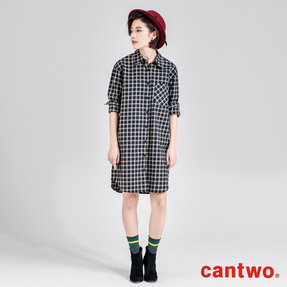 cantwo小格紋單口袋長版襯衫(共三色)