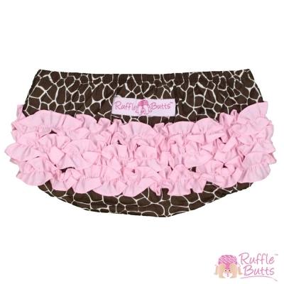 RuffleButts 小女童荷葉邊包屁褲-長頸鹿紋款