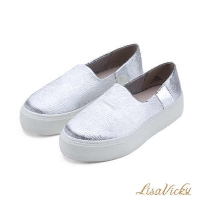 LisaVicky舒適顯瘦厚底休閒懶人鞋-時尚銀