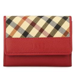DAKS 經典格紋帆布壓扣零錢包-紅色